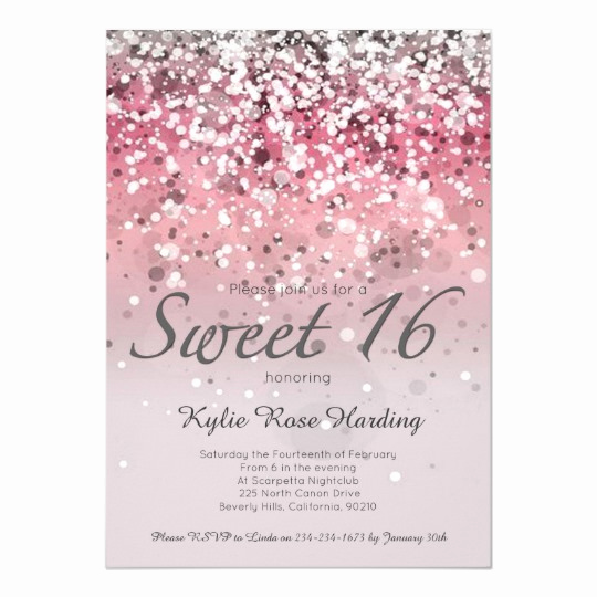 Sweet 15 Invitation Cards Unique Sweet 16 Invitation Pink Glitter Ombre Modern Card