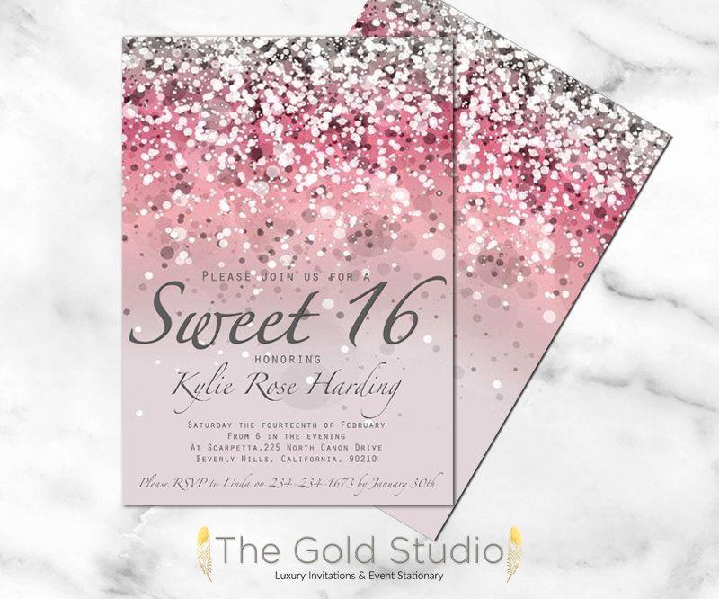 Sweet 15 Invitation Ideas Elegant Customizable Pink Glitter Ombre Sweet Sixteen 16 by