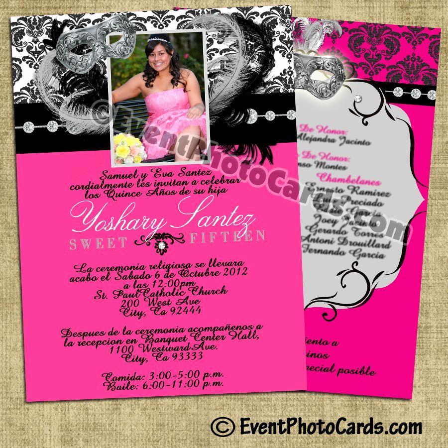Sweet 15 Invitation Ideas Elegant Pink Damask Quinceanera Invitations Sweet 15
