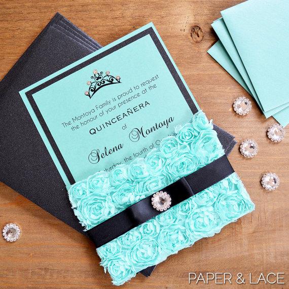 Sweet 15 Invitation Ideas Elegant Rosette Quince Invitation Turquoise Lace Pocket Invitation