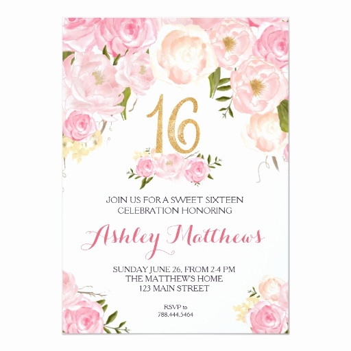 Sweet 15 Invitation Ideas Fresh Sweet Sixteen 16 Birthday Floral Invitation Card
