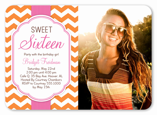 fun chevron sixteen sweet sixteen 5x7 flat