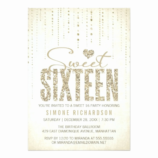Sweet 16 Invitation Cards Beautiful Sweet 16 Birthday Party Invitations