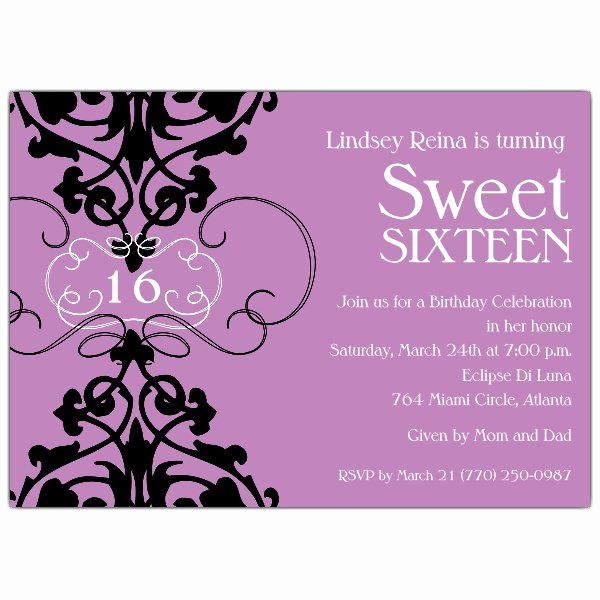 Sweet 16 Invitation Cards Elegant Fleur Lavender Sweet 16 Invitations
