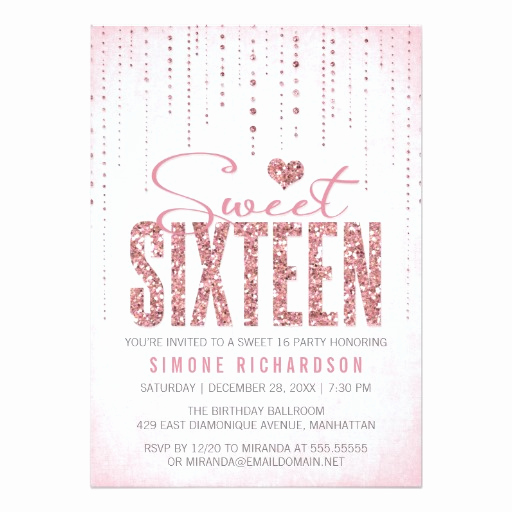 Sweet 16 Invitation Cards Elegant Glitter Look Sweet 16 Sixteen Party Invitation Card