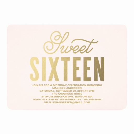 Sweet 16 Invitation Cards Elegant Sweet 16 Birthday Party Invitations