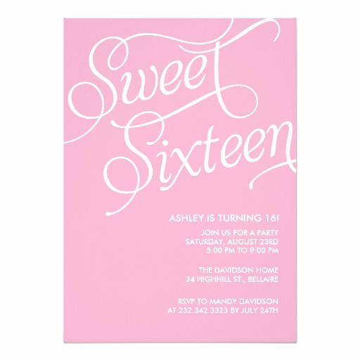 Sweet 16 Invitation Cards Fresh formal Pink Sweet 16 Invitation Card