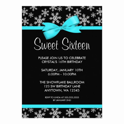 Sweet 16 Invitation Cards Fresh Snowflakes Teal Bow Winter Wonderland Sweet 16 Invitation Card