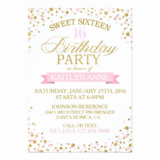 Sweet 16 Invitation Cards Fresh Sparkle Gold Glitter Dots Sweet Sixteen Birthday