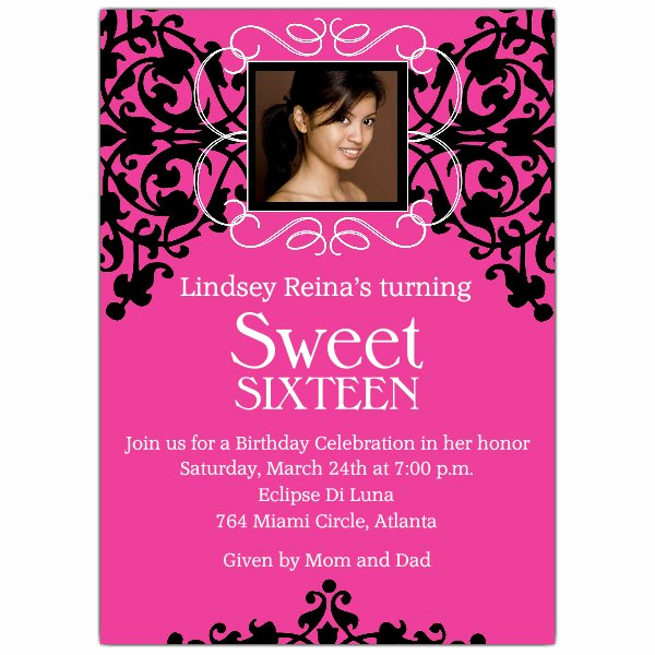 Sweet 16 Invitation Cards Fresh Sweet 16 Card Pink and Black Invitations