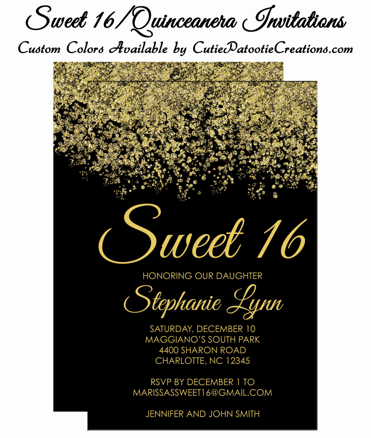 Sweet 16 Invitation Cards Fresh Sweet 16 Invitations Quinceanera Invitation Black and Gold