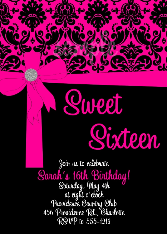 Sweet 16 Invitation Cards Inspirational Pink & Black Sweet 16 Birthday Invitations Quinceanera
