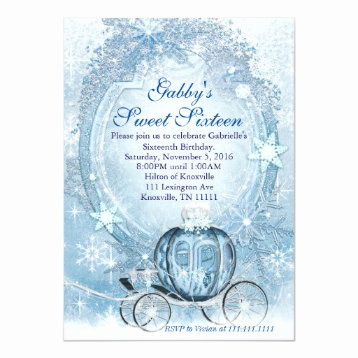 Sweet 16 Invitation Cards Luxury Cinderella Invitation Cinderella Sweet Sixteen Card