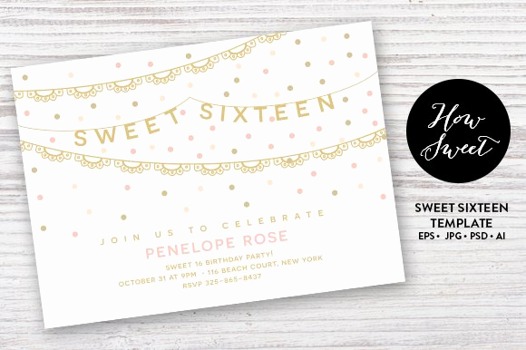 Sweet 16 Invitation Cards Luxury Sweet Sixteen Party Card Eps Invitation Templates