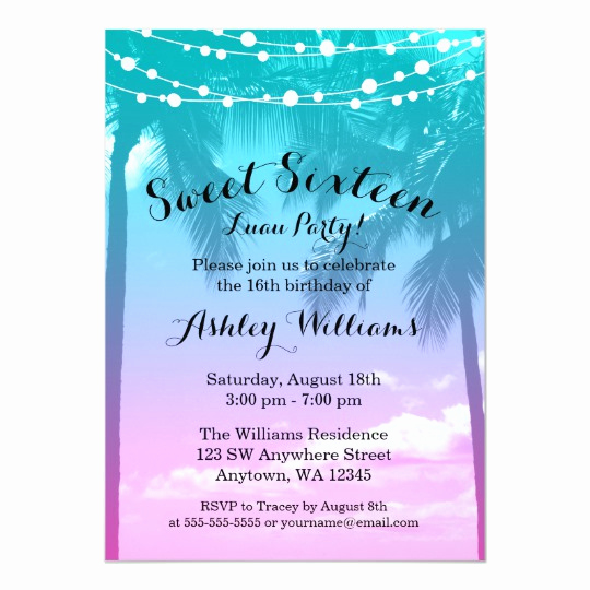 Sweet 16 Invitation Cards Luxury Tropical Luau Teal Pink Sweet 16 Birthday Card