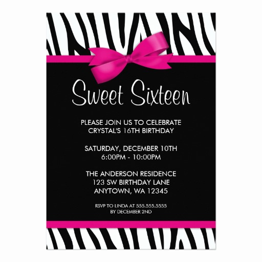 Sweet 16 Invitation Cards Luxury Zebra Hot Pink Printed Bow Sweet 16 Birthday Party