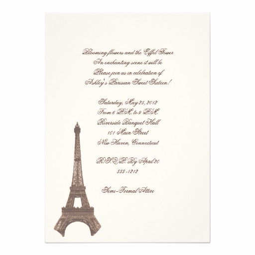 Sweet 16 Invitation Cards New Paris Sweet Sixteen Invitation Card