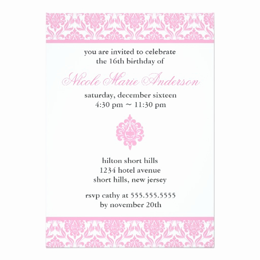 Sweet 16 Invitation Cards New Pink Damask Sweet Sixteen Invitation Card