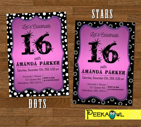 Sweet 16 Invitation Cards New Printable Sweet 16 Invitation Sweet Sixteen Invitations