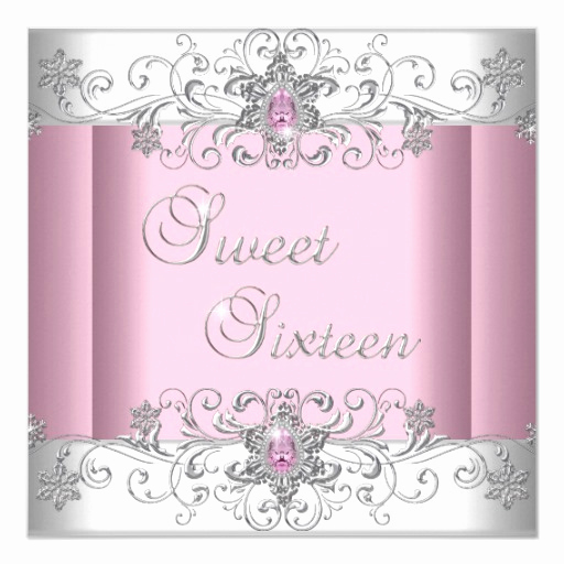 Sweet 16 Invitation Cards New Sweet 16 Pink Silver White Diamond Image Party Card
