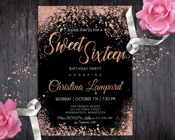 Sweet 16 Invitation Ideas Awesome Sweet 16 Invitation Rose Gold Black Birthday Invitation for