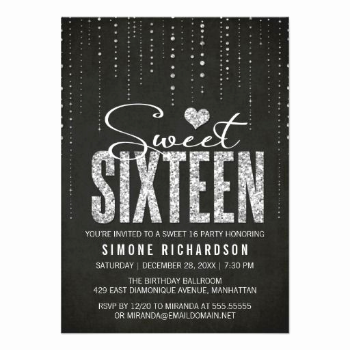 Sweet 16 Invitation Ideas Elegant Sparkly Glitter Sweet Sixteen Party Invitation $1 90
