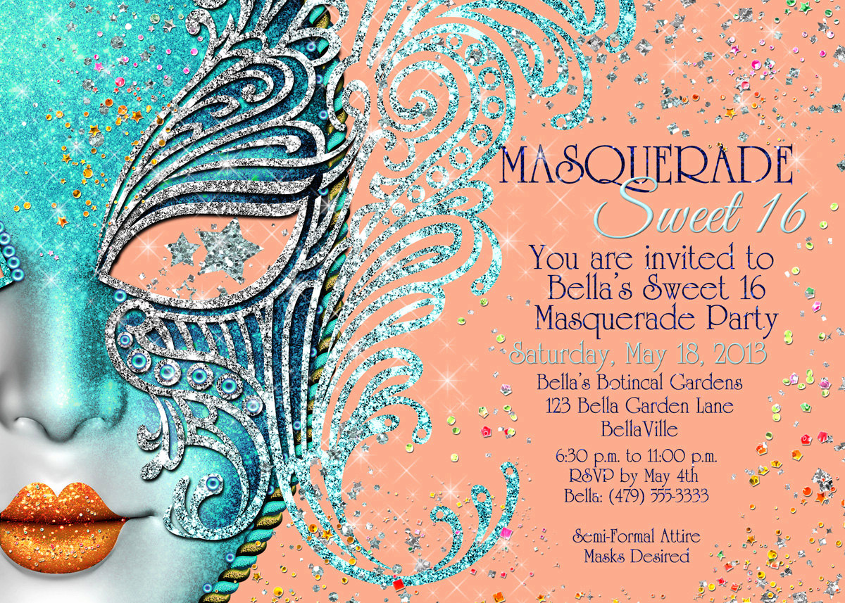 Sweet 16 Invitation Ideas New Quinceanera Masquerade Party Sweet 16 Masquerade Invitation