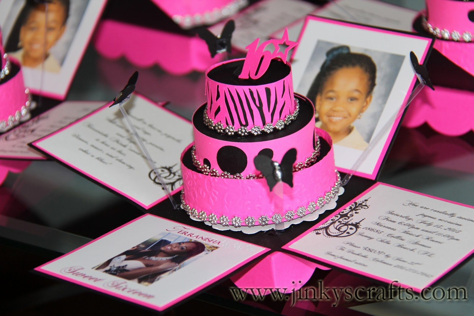 Sweet 16 Invitation Ideas Unique Jinky S Crafts & Designs Hot Pink Zebra Print Cakes Invites