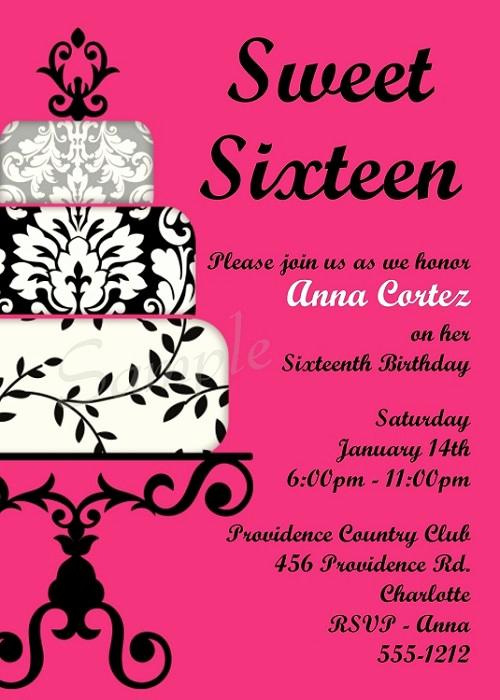 Sweet 16 Invitation Template Elegant Hot Pink & Black Sweet 16 Birthday Invitations