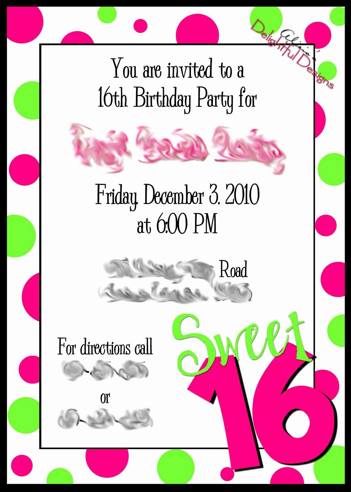 Sweet 16 Invitation Template Elegant Sweet 16 Birthday Invitations Free