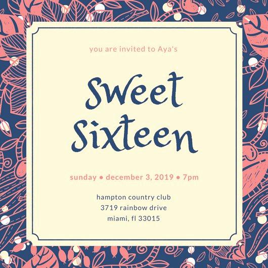 Sweet 16 Invitation Template Elegant Sweet 16 Invitation Templates Canva