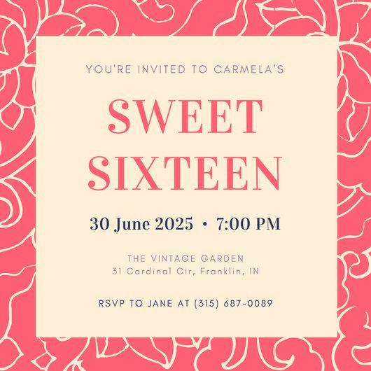 Sweet 16 Invitation Template Fresh Customize 545 Sweet 16 Invitation Templates Online Canva