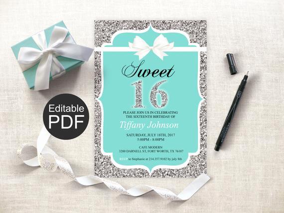 Sweet 16 Invitation Template Fresh Sweet 16 Invitation Template Blue Sweet Sixteen Invites
