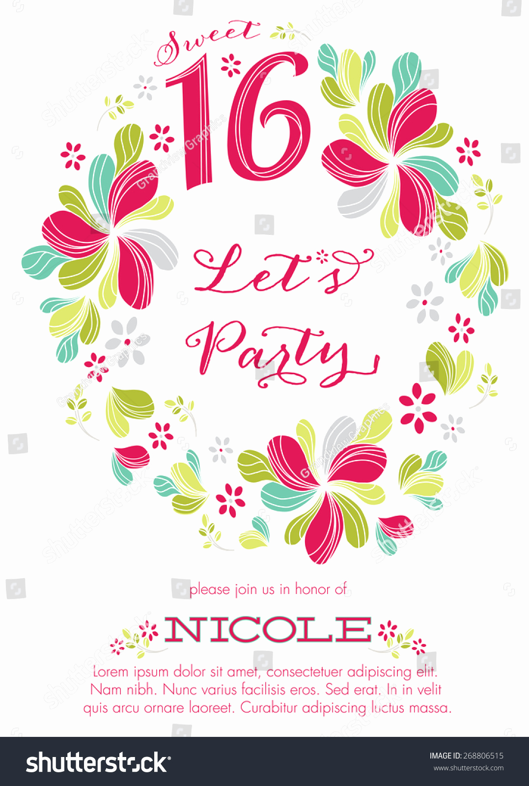 Sweet 16 Invitation Template Fresh Sweet Sixteen Party Invitation Template Vector Stock