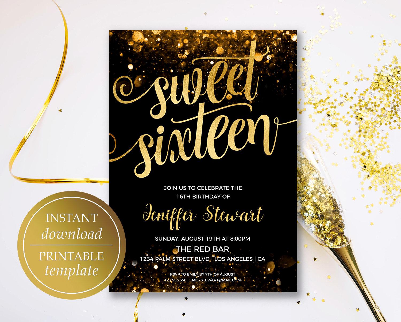 Sweet 16 Invitation Template Inspirational Sweet Sixteen Invitation Birthday Invitation Template Gold