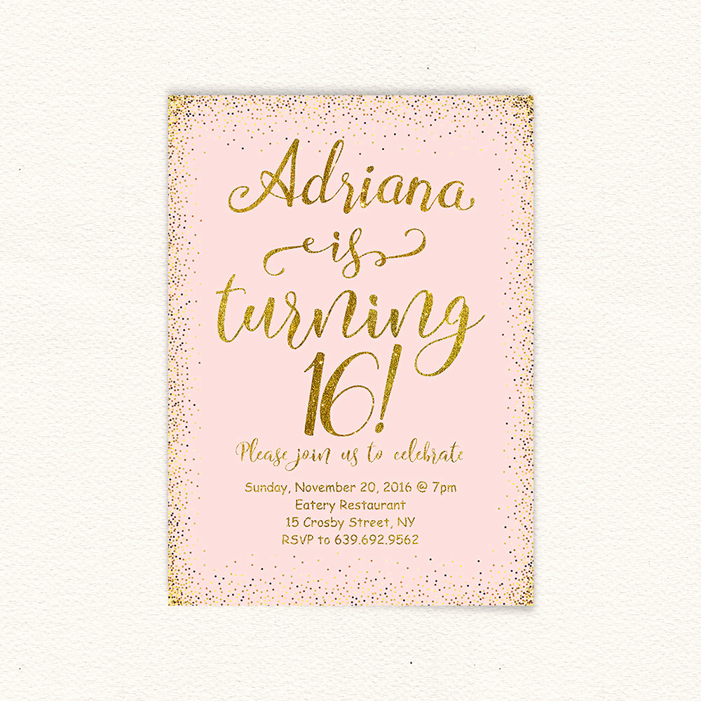Sweet 16 Invitation Template Lovely 16th Birthday Gold Glitter Sweet 16 Birthday Invitation
