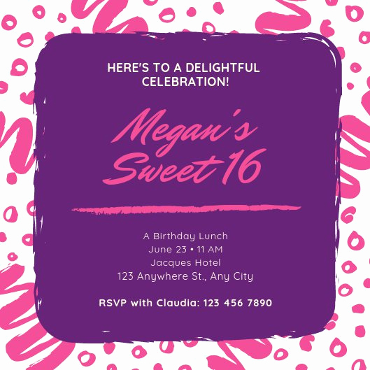 Sweet 16 Invitation Template Lovely Customize 122 Sweet 16 Invitation Templates Online Canva