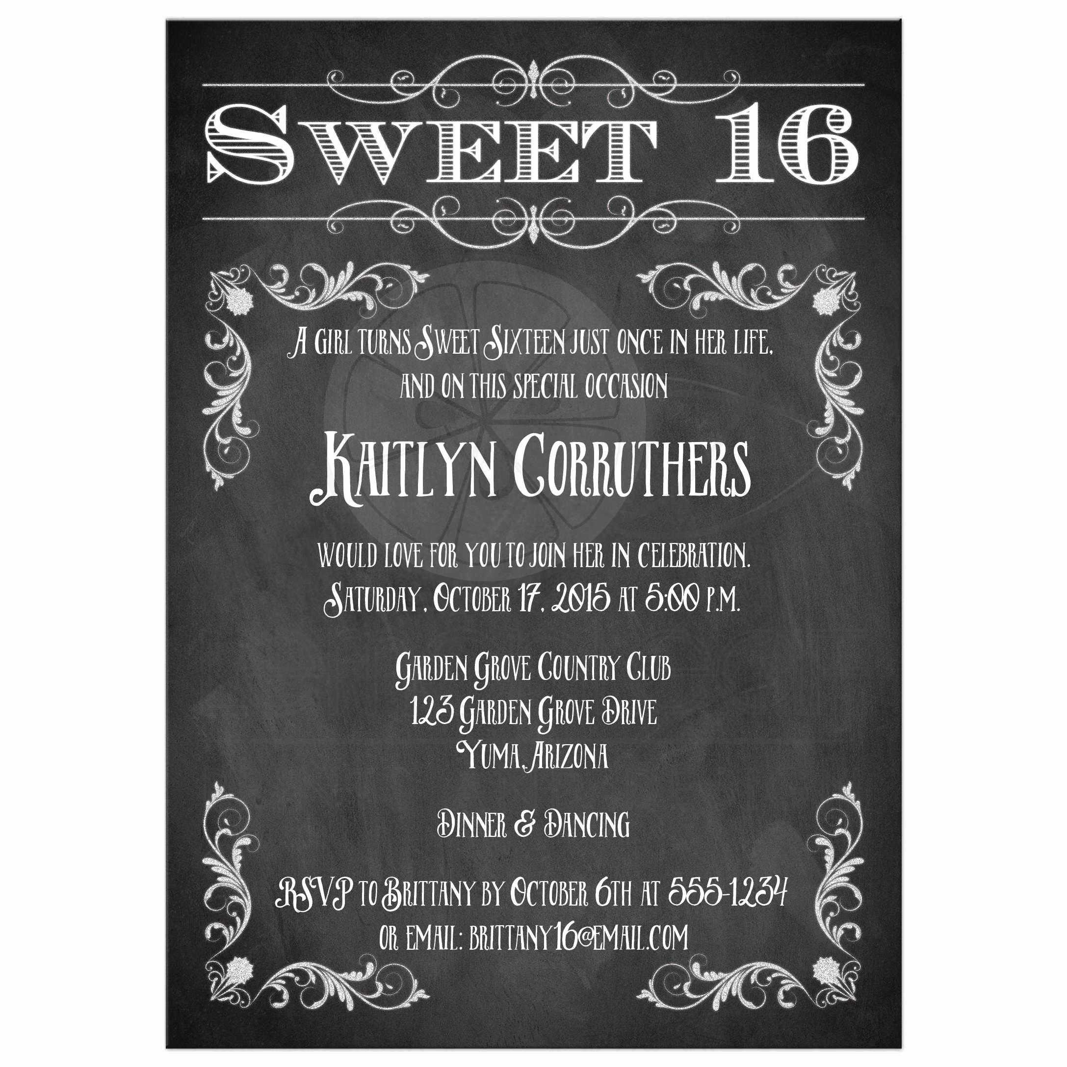 Sweet 16 Invitation Template Lovely Free Sweet 16 Birthday Invitations – Free Printable