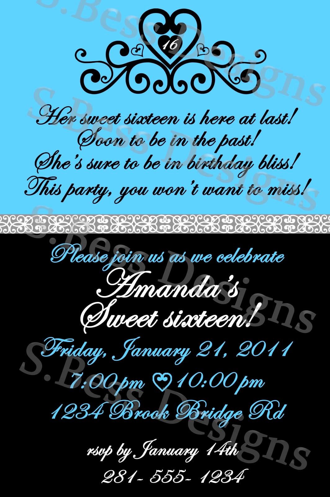 Sweet 16 Invitation Template Luxury Free Sweet 16 Invitation Template