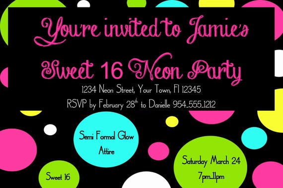 Sweet 16 Invitation Template New Neon Sweet 16 Birthday Invitation Template 4x6