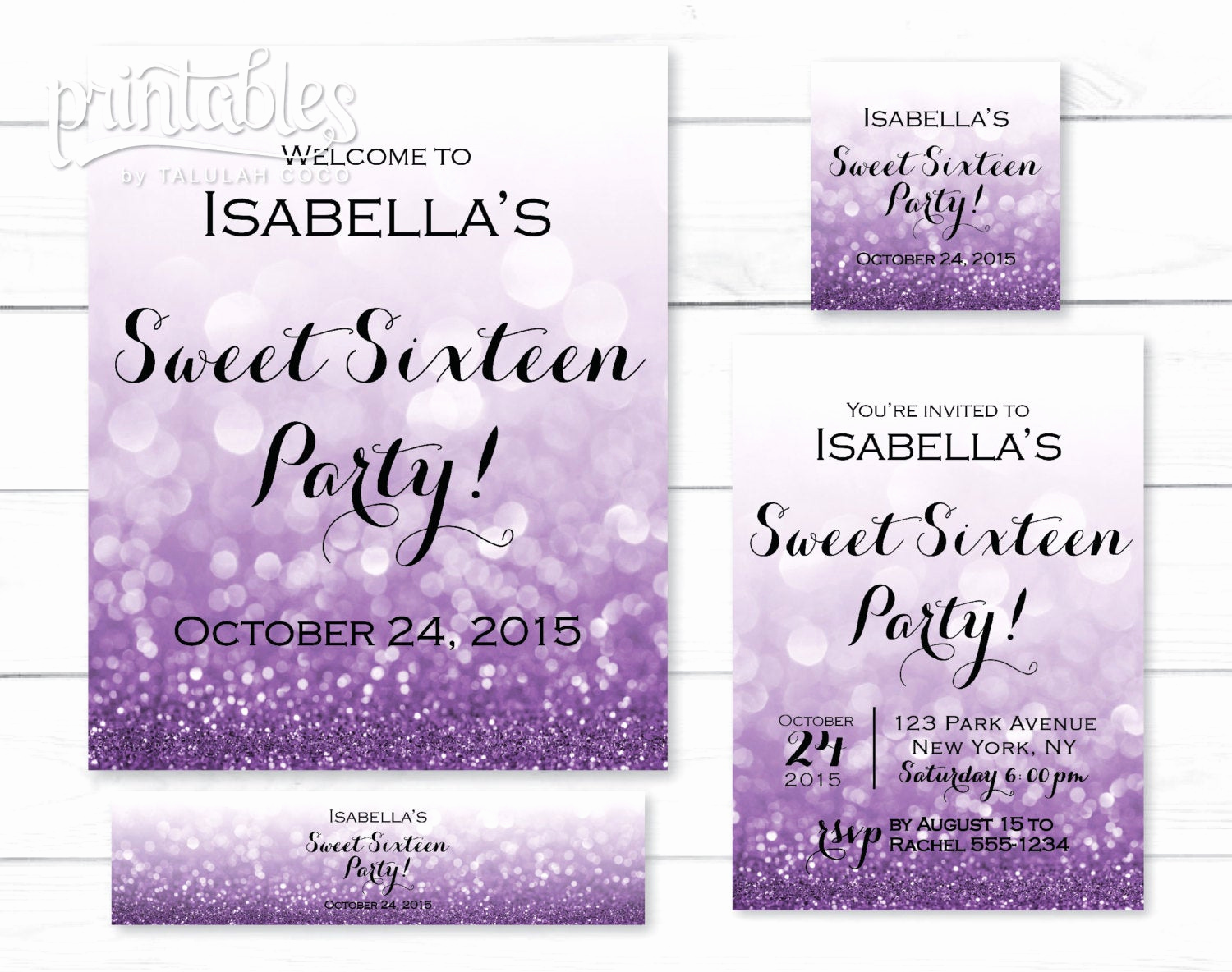 Sweet 16 Invitation Template Unique Sweet 16 Invitation Set Sweet Sixteen Party Favors Printable