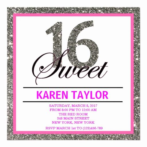 Sweet 16 Invitation Templates Awesome Silver Glitter Sweet 16 Custom Invitation Personalized