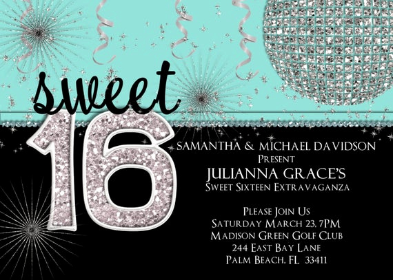 Sweet 16 Invitation Templates Awesome Sweet 16 Invitation Sweet Sixteen Birthday Invite