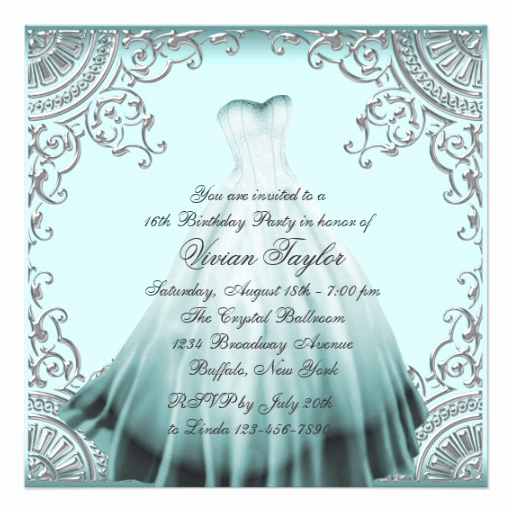 "Sweet 16 Invitation Templates Elegant Silver Teal Blue Sweet Sixteen Birthday Party 5 25"" Square"