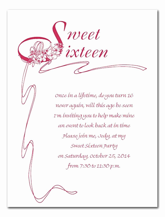 Sweet 16 Invitation Templates Elegant Sweet 16 Invite Wording Cheyenne S Sweet 16