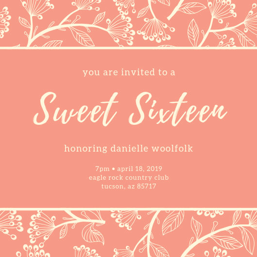 Sweet 16 Invitation Templates Inspirational Customize 122 Sweet 16 Invitation Templates Online Canva