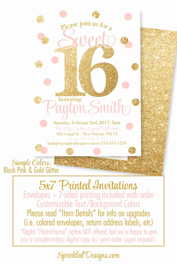 Sweet 16 Invitation Templates Inspirational Sweet 16 Invitations Pink and Gold Glitter Sweet Sixteen