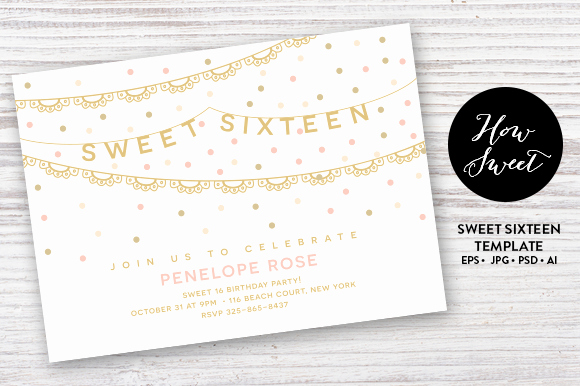 Sweet 16 Invitation Templates Inspirational Sweet Sixteen Party Card Eps Invitation Templates On