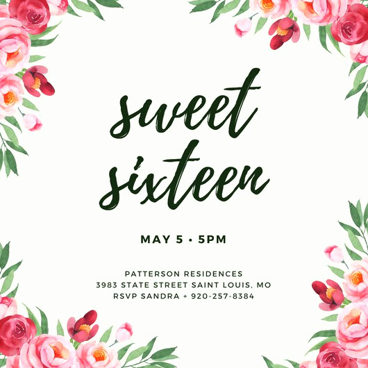 Sweet 16 Invitation Templates Lovely Customize 545 Sweet 16 Invitation Templates Online Canva