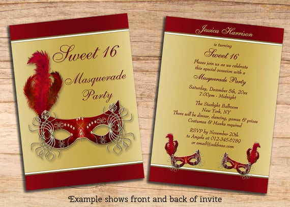 Sweet 16 Invitation Templates Luxury Items Similar to Printable Sweet 16 Masquerade Party